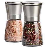 Salz und Pfeffermühle, Ubegood Salz- Pfeffermühlen Set Salzmühle & Pfeffermühlen Glas-Körper mit verstellbarem KeramikMahlwerk Edelstahl Gewürzmühle - 2 Stück