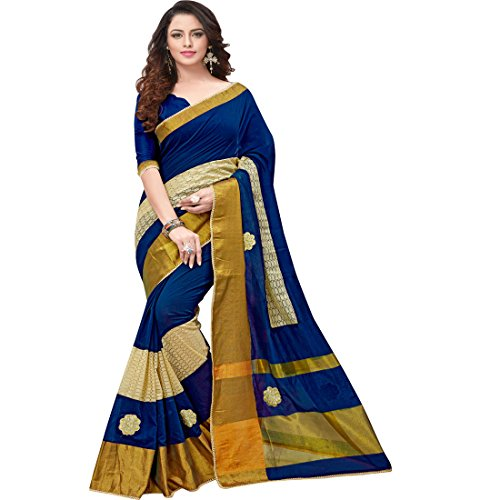Pramukh-Suppliers-Womens-Cotton-Navy-Blue-Embroidered-Saree-With-Blouse-Piece-1BNB-sarees-for-women-latest-design-party-wear
