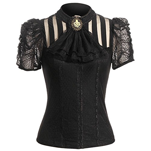 Viktorianische Kurzarm-Bluse - SASHA - Farbauswahl (SP087), Farbe:Schwarz;Größe:XXL