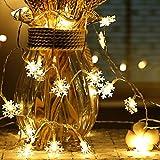 Schneeflocke Lichterketten, 6M 40Pcs LED Batteriebetriebene Lichterketten, Shining Decoration Lightning für Weihnachten Hochzeit Geburtstag Holiday Party Schlafzimmer Indoor & Outdoor (Warm White)