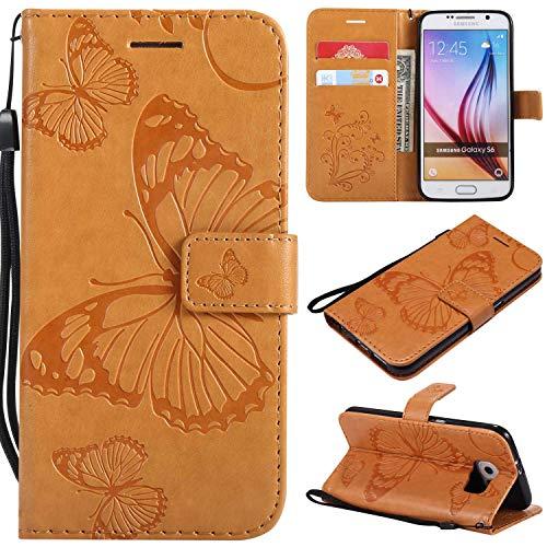 BoxTii Schutzhülle Galaxy S6 mit [Kostenloser Displayschutzfolie aus Hartglas], Schutzhülle aus hochwertigem Leder, mit Kartenschlitzen und Standfunktion für Samsung Galaxy S6
