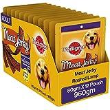 Pedigree Meat Jerky Adult  Dog Treat, Roasted Lamb, 12 Packs (12 x 80g)