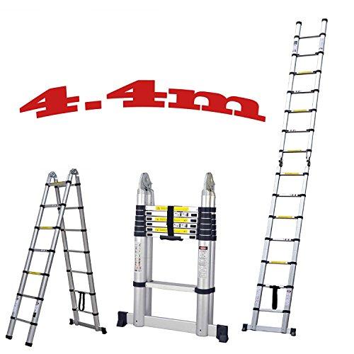 J&A DIY Doppelte Teleskopische Faltbare Leiter, 4.4m 14.4Ft Ausdehnbare Bewegliche Aluminiumvielzweckleiter, Schritt 2 * 6 Mit Anti-Beleg (Belastbarkeit 150kg/330 Lbs)