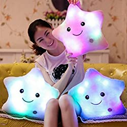 Star juguetes de felpa, favolook LED luminoso Twinkle Little Star musical almohadas Lovely Cute Heart Bear Paws Soft Peluches Muñecas cojines cama sofá oficina Decor Pink Star
