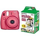 Fujifilm Instax Mini 8 Fotocamera Istantanea per Stampe Formato 62x46 mm, Lampone + Fujifilm Instax Mini Film 10 Pellicola Instantanea per Instax Mini 7S, Mini 25 e Mini 50S, Set 2 Pezzi