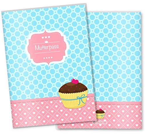 Mutterpasshülle 3-teilig Cupcakes Motive Schwangerschaft Geschenkidee (Mutterpass ohne Personalisierung, Motiv: Schoko Kuss)