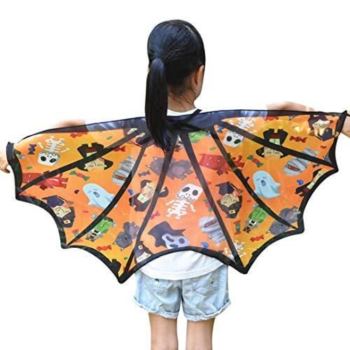 SuperSU Kinder Jungen Mädchen Fledermaus Cartoon Print Cape Umhang Halloween Cartoon Print Flügel Schal Schals Poncho Kostüm Zubehör Gedruckt Chiffon Weiche Gewebe Cape Schal Poncho Wrap Kimono