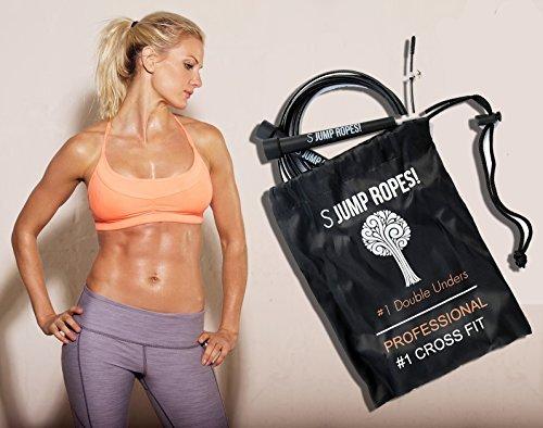 Springseil für Double Unders – Premium Speed Rope für CrossFit, WOD´s, Boxen, Training, Abnehmübungen, Cardio, MMA, Übungen und Fitness. Werden Sie noch heute fit! Inklusive GRATIS Tragetasche und *Geschenkbox* - Garantierte Zufriedenheit.