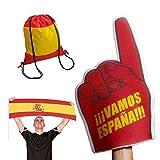 Fun Fan Line® – Set Especial España! Mochila, Bandera y Mano Gigante de Espuma. Ideal para Fiestas, Celebraciones y Eventos Deportivos.