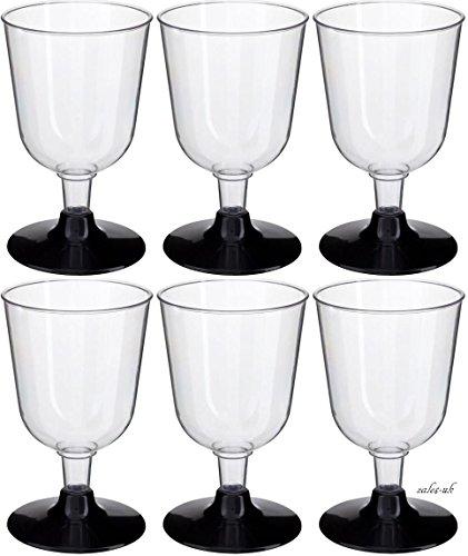 GSL Lot de 50 x Effacer Plastique fête Verres à vin – Base de Noir tiges – 160 ml
