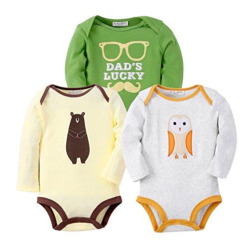 Sanlutoz Vêtements bébé garçon Nouveau-né Bodysuit Bébé fille Jumpsuit Unisexe 3 Pack (6-12 mois, R08R01R04)