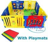 MCC Plastic Baby Playpen with Activity panel & Floor Mats 8 Sides