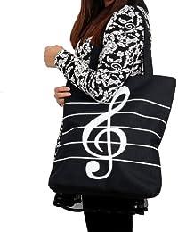 Wuiyepo toile de fille d'épaule simple note de musique fourre-tout commercial Sacs à bandoulière