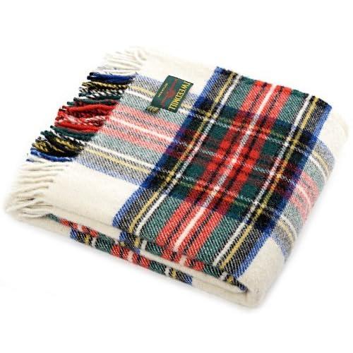 Dress Stewart tartan British made wool picnic blanket travel rug