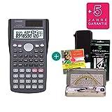 Streberpaket: Casio FX-85MS + Schutztasche + Lern-CD (auf Deutsch) + Geometrie-Set + Erweiterte Garantie