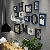 TGDY Fotorahmen Wand Massivholz Galerierahmen Kombi Collage Kreativ Bilderwand Wand Fotorahmen Restaurant Hintergrund Wanddeko Wanddeko Wandkollektion 10er Set Mode blau
