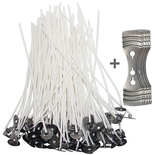 200pz stoppini con 5pz dispositivo di centraggio, senhai 11,9cm pre-waxed cotton core wicks con metallo sustainer per candele e fai da te