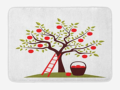 Fruits Bath Mat, Apple Tree, Ladder and Basket of Apples Countryside Agriculture Autumn Harvest, Plush Bathroom Decor Mat with Non Slip Backing, 23.6 W X 15.7 W Inches, Brown Red Green (Rv-monster-truck)