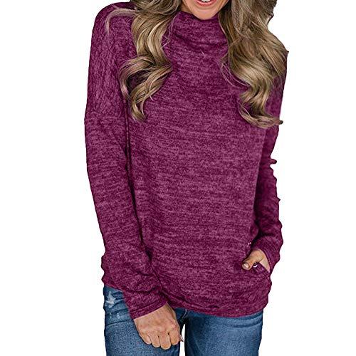 Preisvergleich Produktbild Sannysis Damen Pullover Langarmshirt Elegant Frauen Cowl Neck Striped Langarm Kordelzug Pullover Top Sweatshirt Taschen