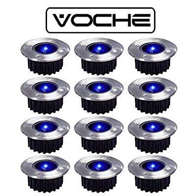 Voche® 12 Wireless Solar Powered Rechargeable Stainless Steel Blue LED Garden Deck Lights from Voche®