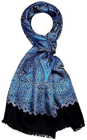 LORENZO CANA - Luxus Herren Schal Wendeschal Herrenschal Seidenschal 100% Seide / 100% Wolle 30 x 160 cm Blau Türkis Violett Lila Schwarz 8914811