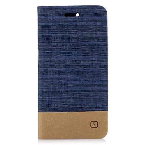 EKINHUI Case Cover Mischfarben Segeltuch Jeans Tuch Beschaffenheit PU-lederner weicher TPU rückseitige Abdeckung mit Kickstand und Kartenschlitzen für Huawei NOVA 2 ( Color : Darkblue ) Darkblue