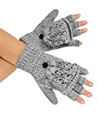 caripe 1 Paar fingerlose Handschuhe mit Klappe Fäustlinge Strass Nieten- flip-top1 (hellgrau)