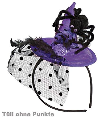 Haarreif Hexenhut, Spitzhut mit Spinne, Feder und Tüll, in verschieden Farben, Halloween, Karneval *NEU bei Pibivibi (lila)