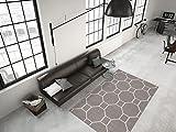 FLACHFLOR TEPPICHE MODERN KASTEN DESIGN TEPPICH 3D EFFEKT TAUPE ELFENBEIN, Größe:160cm x 230cm