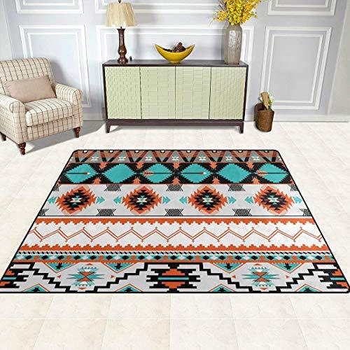 Guoey tappeti tappeto di feltro 4'x5', tribali etnici aztec pattern geometrico antiscivolo in poliestere soggiorno sala da pranzo camera da letto ingresso tappeto tappetino home decor