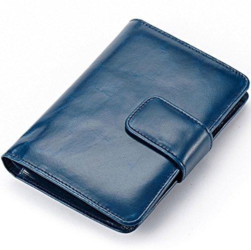 edfamily Echteder Geldbörsen Geldbeutel Kreditkartenetui Visitenkarten Münzbörsen Tasche für Damen und Herren (Brown) Blau