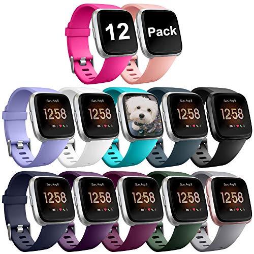Zekapu Bracelet pour Fitbit Versa/Fitbit Versa 2/Versa Lite, Fitbit Versa Bandes Remplacement Silicone Sport Réglable Bracelet Accessoire pour Fitbit Versa/Fitbit Versa 2, Grand Petit, 12 Couleurs