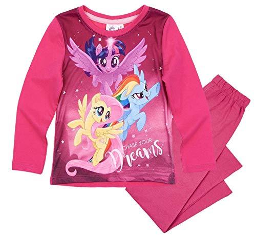 Pony My Little Schlafanzug Mädchen Lang Rundhalsausschnitt (Fuchsia, 104) (Dash Pullover Rainbow)