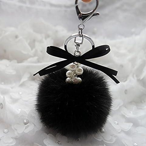 Porte-clés/Trousseau, Malloom clé de voiture en peluche de lapin boule de faux fourrure sac de porte-clés clé de voiture de pendentif anneau (Noir)