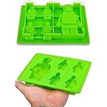 Stampo in silicone per glassa, cioccolato, pasta di zucchero, cubetti di ghiaccio, candele, sapone e caramelle con 5 Minifigures LEGO Omini 3D 100% silicone alimentare, privi di BPA, i bambini li adorano per decorare le loro torte di compleanno