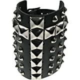 Search : Black Gothic Punk Cross Pyramid Spike Studded Real Leather Handmade Wristband Made In England WB359
