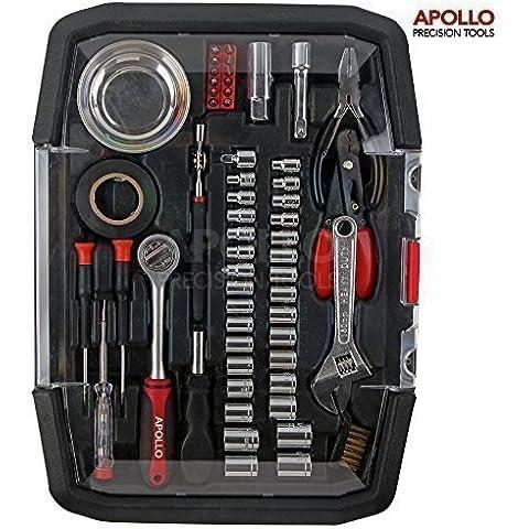 Apollo 57 piezas Mecánica SAE conjunto de caja de herramientas y tomas métricas, 0,95 cm Pro repeluzno mango, bandeja magnética, recogedor magnético telescópico, llave inglesa, alicates, comprobador, pelacables, destornilladores, cinta aislante, brocas y puntas ---En estuche - Gran regalo práctico Idea