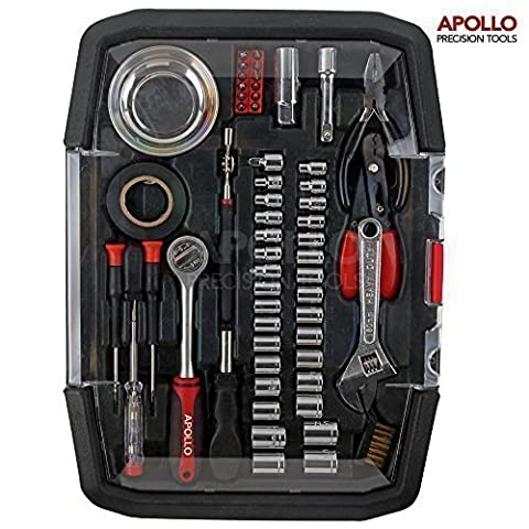 Apollo 57 Piece Auto Mechanics Tool Kit Including SAE & Metric Sockets, 3/8 inch Pro Ratchet Drive Handle, Magnetic Parts Tray, Magnetic Pick Up Tool, Adjustable Wrench, Pliers, Circuit Tester, Wire Strippers, Precision Screwdrivers, Electrical Tape, Bit Driver and Bits -- All in Convenient Storage Case - Great Gift