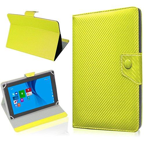 NAUC Tablet Hülle für TrekStor SurfTab Twin 10.1 Tasche Schutzhülle Cover Case Carbon, Farben:Gelb