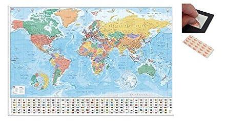 Paquet - 2 Articles - Carte Du Monde Avec Drapeaux Et Facts Affiche - 91.5 x 61cms (36 x 24 Pouces) et un Set de 4 Repositionnables Coussinets Adhésifs Pour Une Facile Vis Fixation