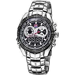 Beautiful Watches , TVG Round Dial Hardlex Watch Window Luminous &Alarm &Week Display Function Quartz + Digital Double Movement Men Watch with Alloy Band