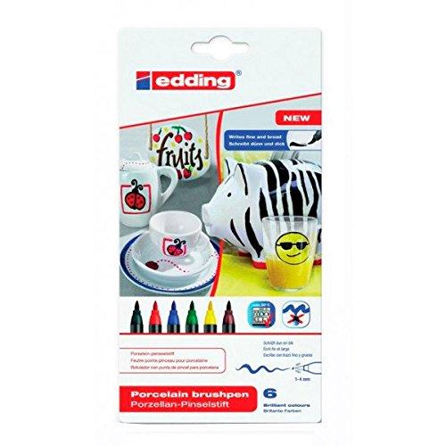 edding 4200 Porzellan-Pinselstift (auch für Glas und Keramik) - Standardfarben - Farb-Set mit 6...