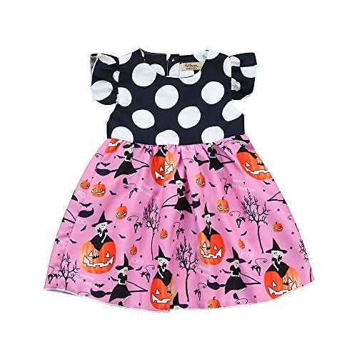 kind Kinder Baby Mädchen Halloween Kürbis Cartoon Prinzessin Cosplay Home Party Kleid Outfits Kleidung Tanz Rave Kleid ()