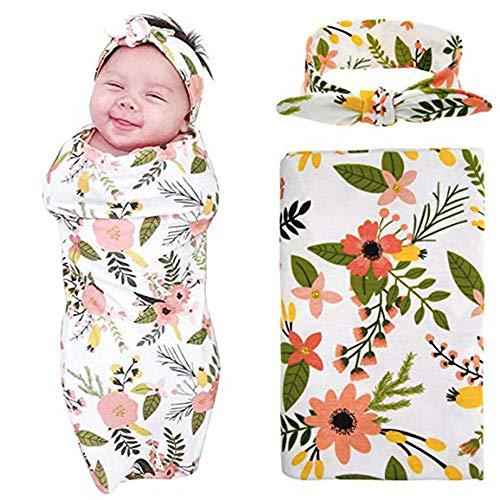 Baby Swaddle Decke Stirnband Set Weiches Schlafsack Wrap Decke Neugeborene Bett Blatt Bad Tuch Mit niedlichen Stirnband (Blume)