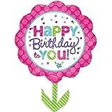 Pinke Geburtstagsblume Folienballon Ø 73cm + PORTOFREI mgl + Geschenkkarte + Helium & Ballongas geeignet. High Quality Premium Ballons vom Luftballonprofi & deutschen Heliumballon Experten. Tolles Luftballon Geschenk für Kinder & Erwachsene und tolle Ballondekoration