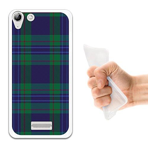 WoowCase Wiko Selfy 4G Hülle, Handyhülle Silikon für [ Wiko Selfy 4G ] Grüner schottenkaro Druck Handytasche Handy Cover Case Schutzhülle Flexible TPU - Transparent