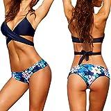 Conjunto de Bikini para Mujer, LILICAT® Sexy Traje de Baño Push-Up & Sujetador Acolchado + Tanga Bikini Playa Mujer, 2 PCS Bikini Brasileño de Primavera Verano (XL, ❤️ Azul)