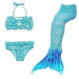 DecStore 3PCS Mädchen Badeanzug Meerjungfrau Schwanz Bademode Bikini-Set Kostüm für