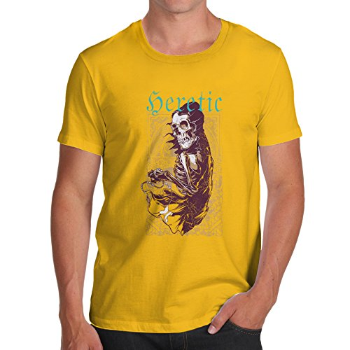 TWISTED ENVY Funny Tee Shirts For Men Heretic Men's T-Shirt X-Large Yellow
