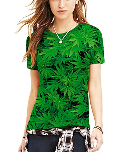 Pretty321 Men Women Universe Galaxy Stars & Nature 3D Slim Fit T-shirt Collection Green Plants Leaves